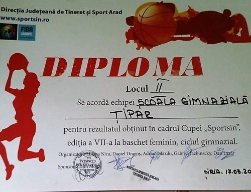 "Locul II la baschet feminin -Cupa ""Sportsin"""